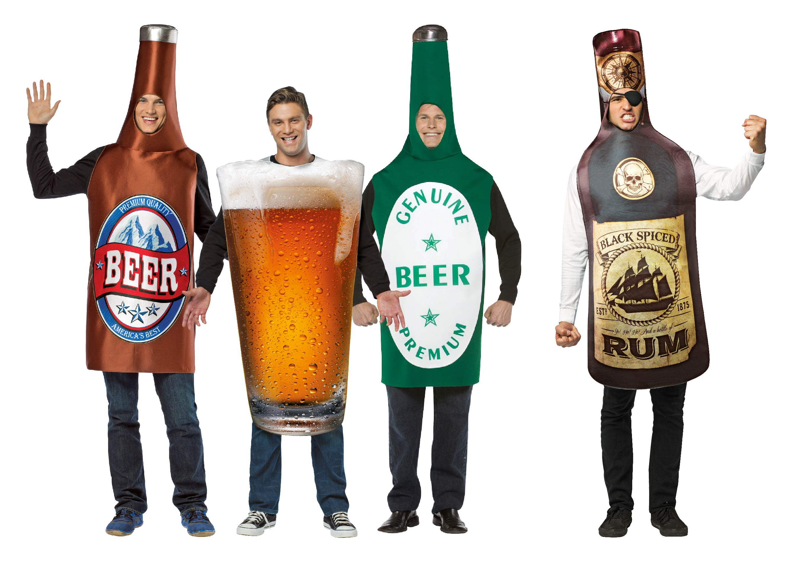 Men wearing Alcohol costumes including beer bottles, pints and rum.