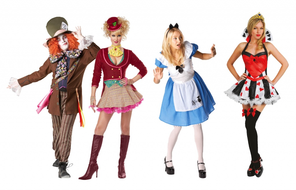 People wearing Alice in Wonderland group fancy dress including Alice, Queen of Hearts & Mad Hatter.