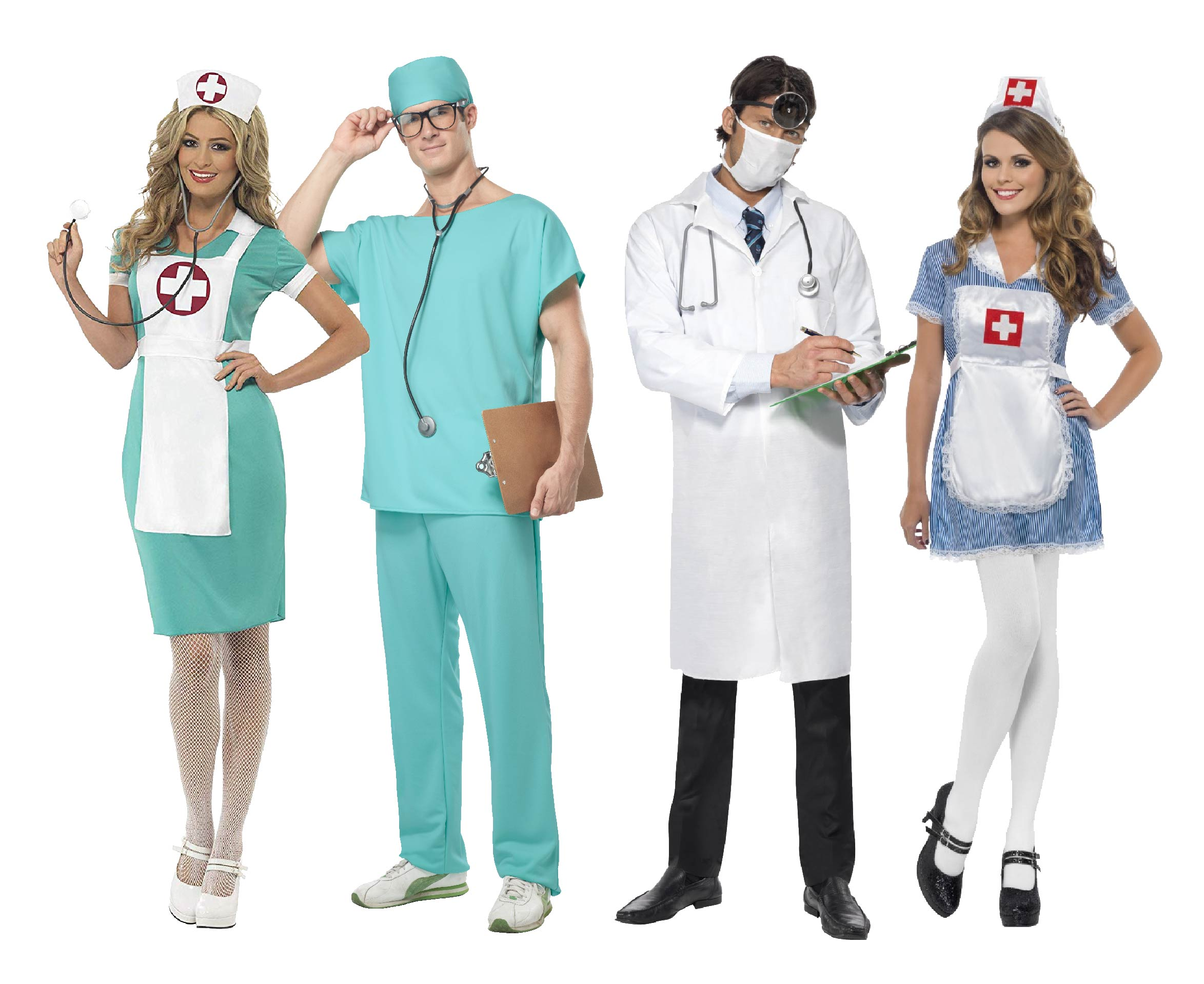 Men and women wearing Doctor and nurses group costume.