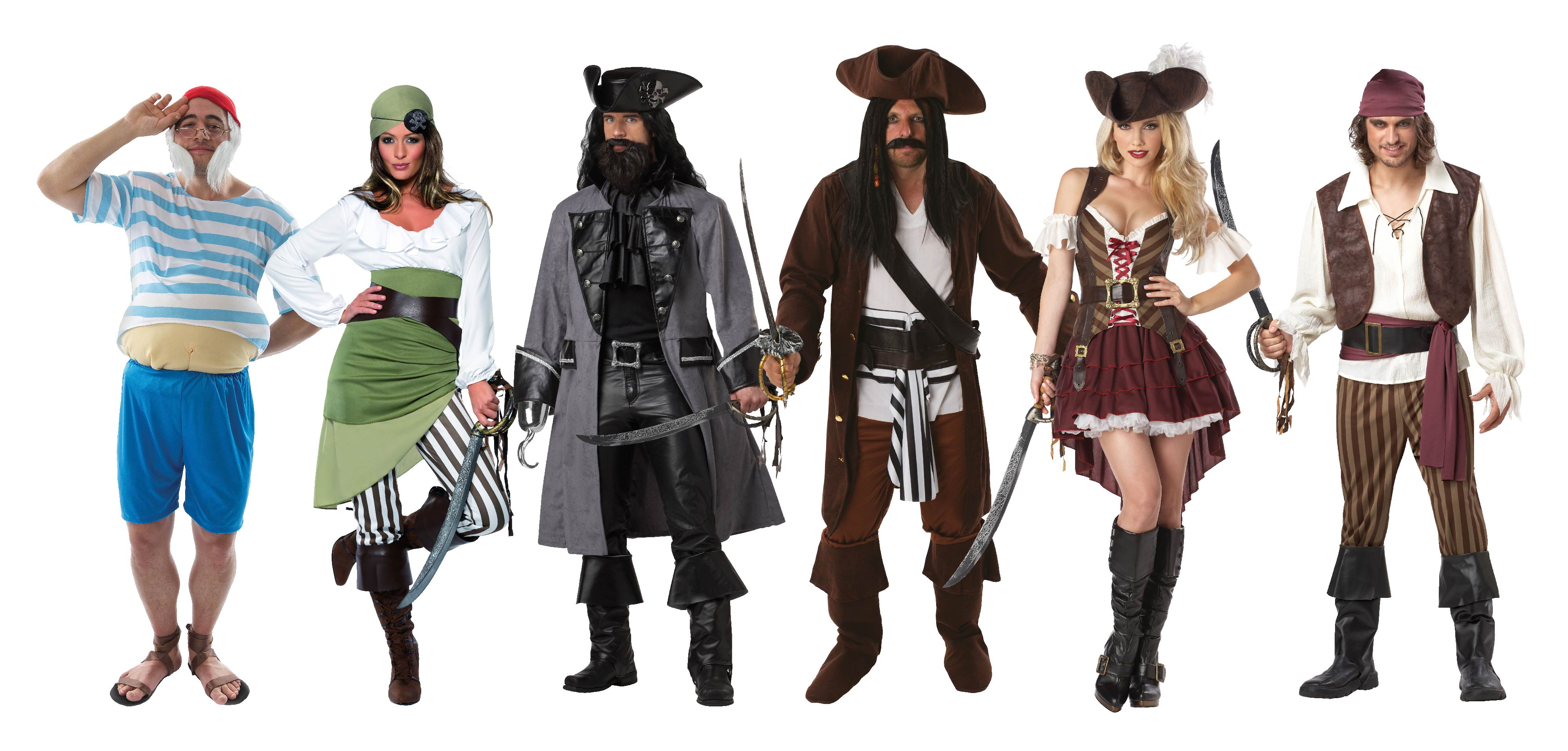 Group of people wearing Pirate costumes.