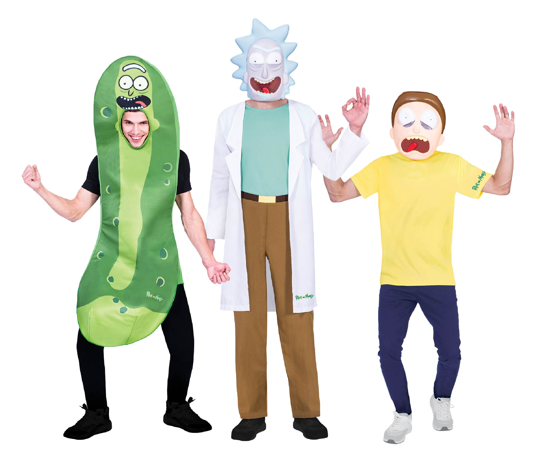 People wearing Rick & Morty group costume with Pickle Rick.
