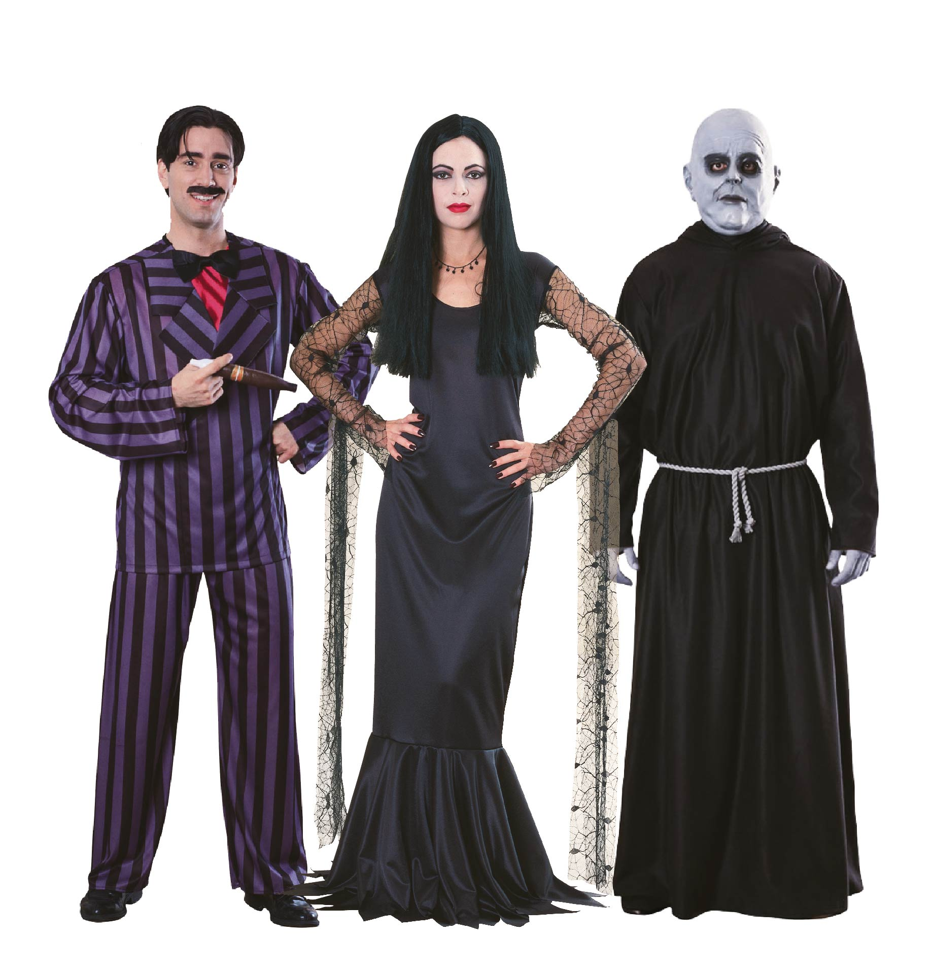 People wearing Addams family costumes including Morticia, Gomez and Uncle Fester.