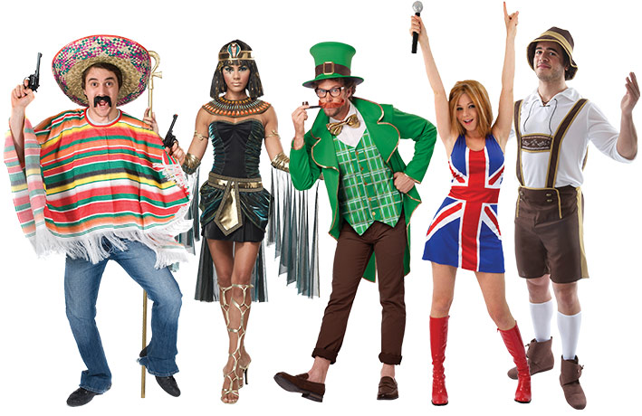 A group of adults wearing Around the World theme costumes including a Leprechaun, a Mexican poncho, Egyptian Queen, Geri Halliwell Union Jack Costume and a Lederhosen.
