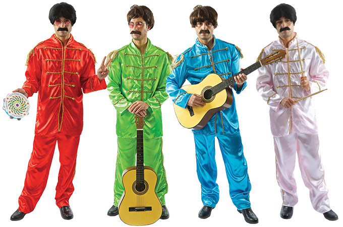 Four men wearing coloured Sgt Pepper The Beatles group costume.