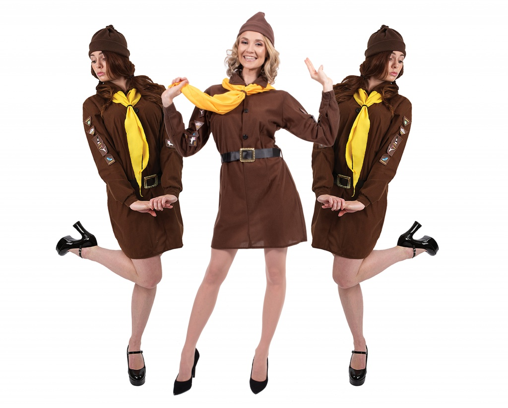 Three women dressed in brown and yellow Brownie fancy dress uniforms.