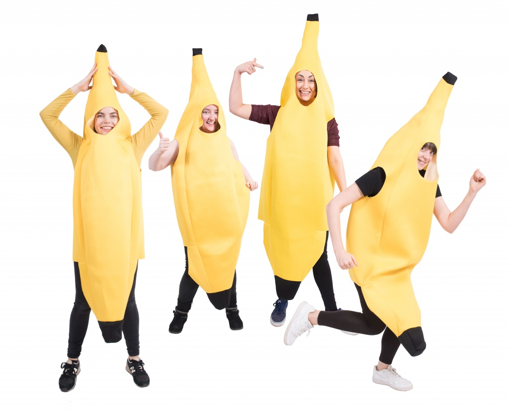 A group of women dressed as yellow bananas.