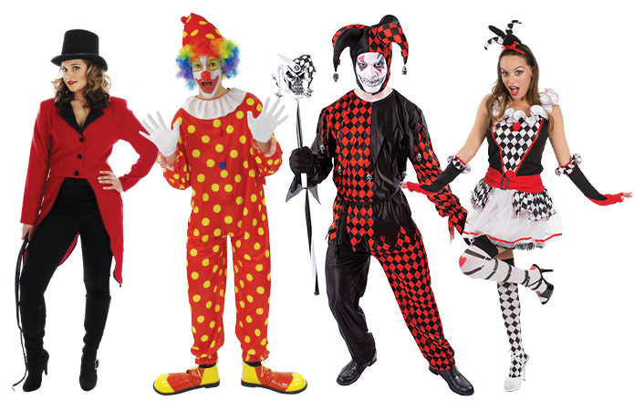 Group of people wearing Circus costumes including a ringmaster, clown and jesters.