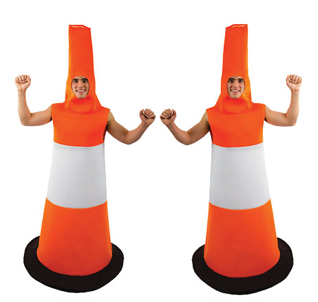 Two men wearing orange and white Road Cone costumes.