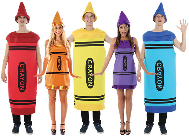 A group of people wearing multi-coloured Crayon costumes.