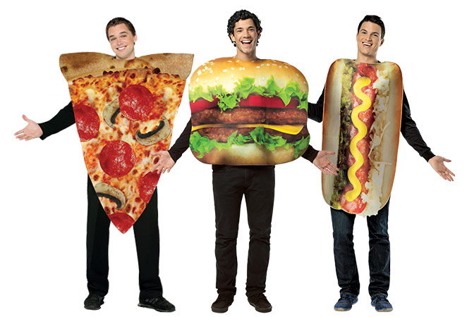 Three men wearing fast food costumes including a pizza, hamburger and hotdog.