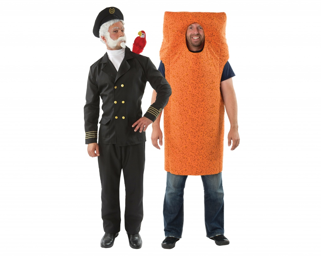 Two men wearing a couples costume of Captain Birdseye and Fish Finger.