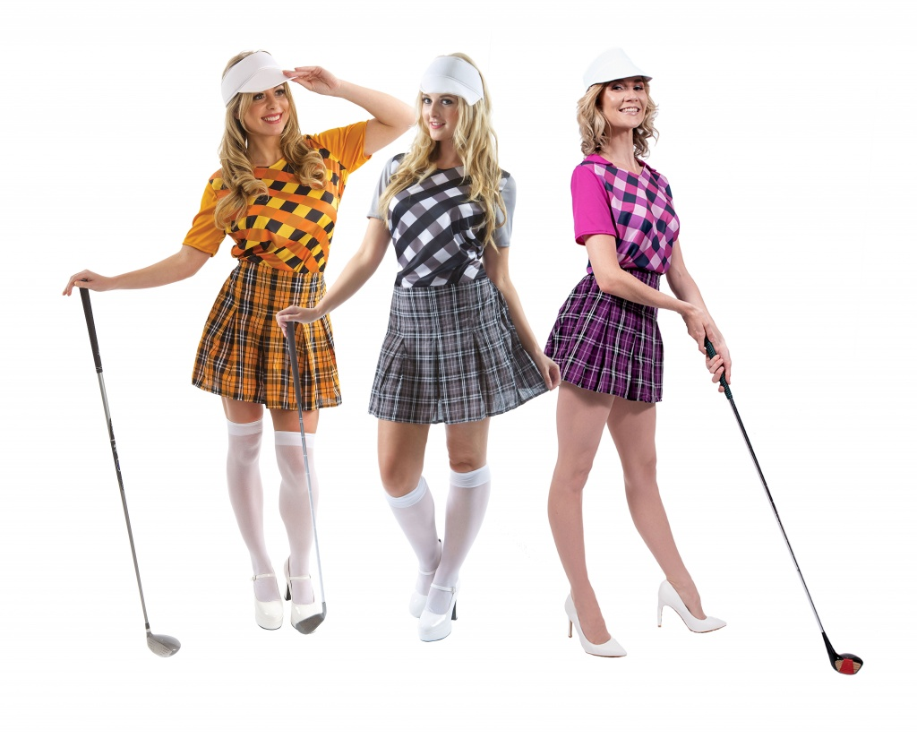 Three women wearing golfers costumes.