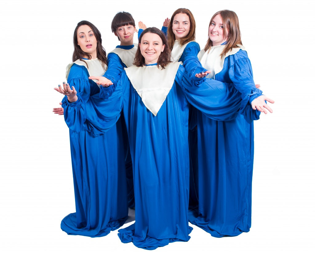 A group of women dressed in blue Gospel Choir gown costumes.