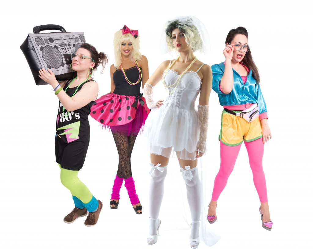 Group of people wearing 1980s inspired fancy dress costumes including Madonna.