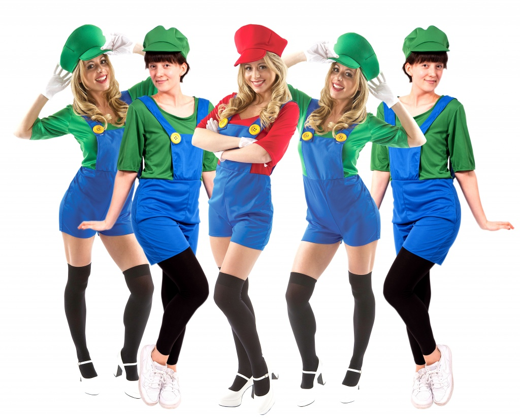 A group of women dressed in green Luigi overalls and one dressed in a red Mario Costume.
