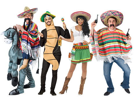 Adults wearing Mexican group fancy dress including ponchos and sombreros.