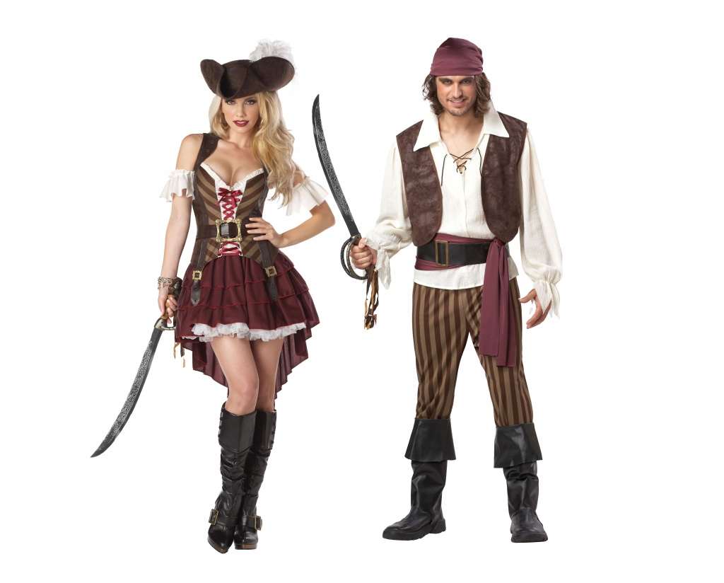 Man and woman wearing matching Pirate couples costumes.