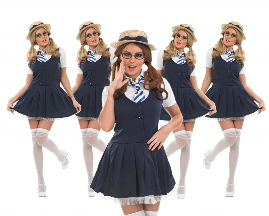 A group of women wearing Naughty School Girl uniform costumes.