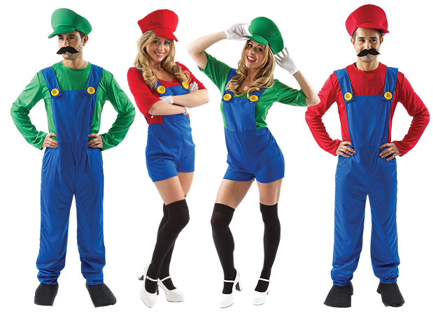 Men and Women wearing Super Mario and Luigi group fancy dress.