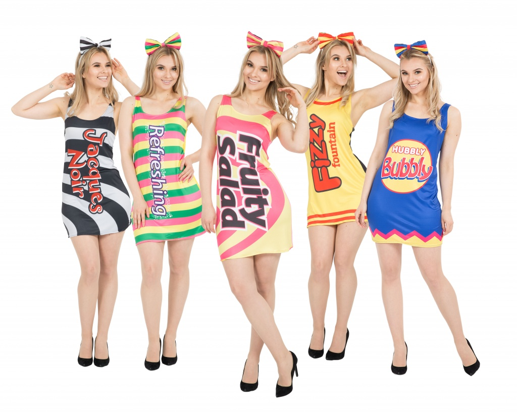 A group of women dressed in British sweets themed dresses.