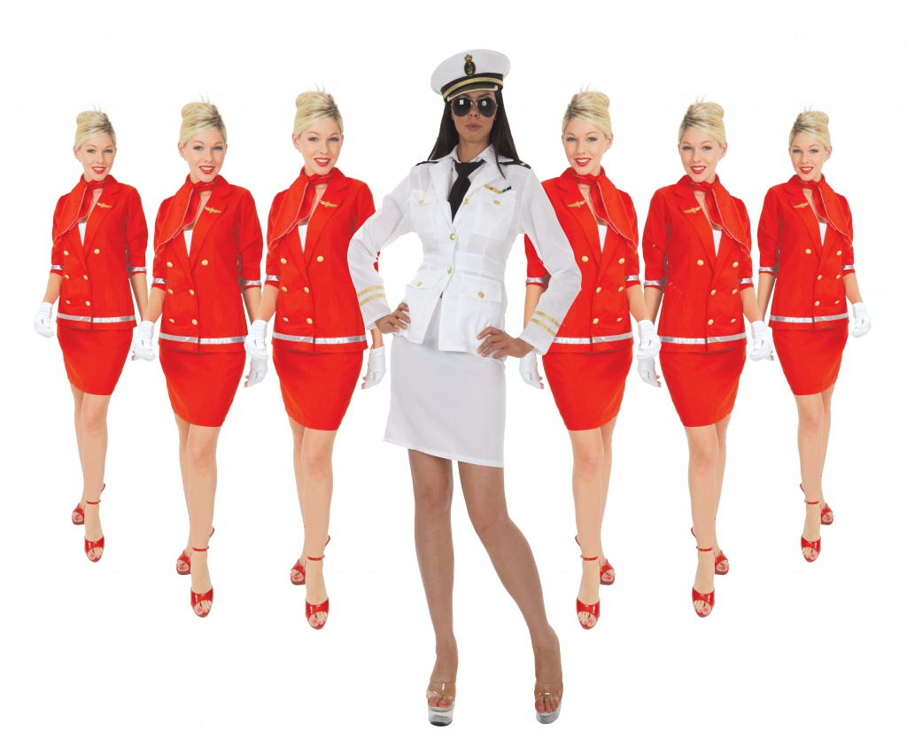 A group of women dressed in red Cabin Crew costumes and one dressed as a Pilot.