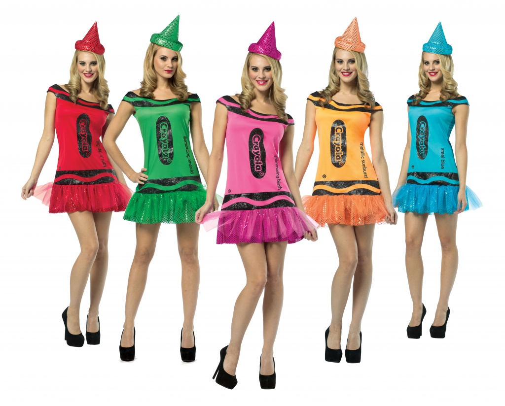 A group of women dressed in different coloured tutu Crayon dresses.
