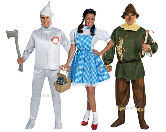 Woman and two men wearing Wizard of Oz group costume including Dorothy, Scarecrow and Tin-man.