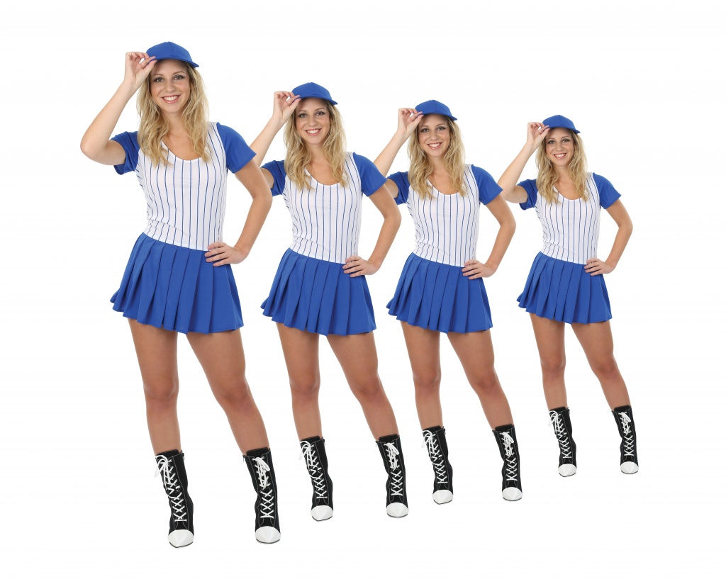Four women dressed in blue and white baseball uniform costumes.