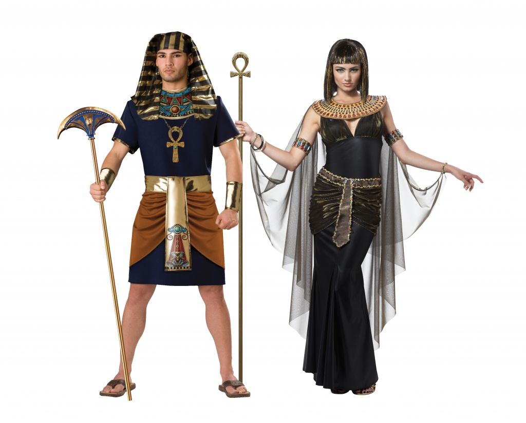 Man and woman wearing Egyptian costumes including a pharaoh and Cleopatra