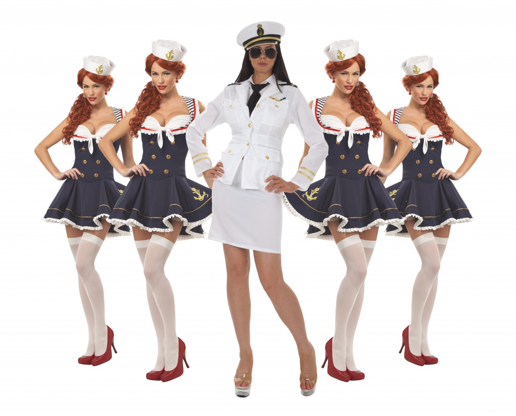 A group of women wearing Sailor dresses and one dressed as a Captain.