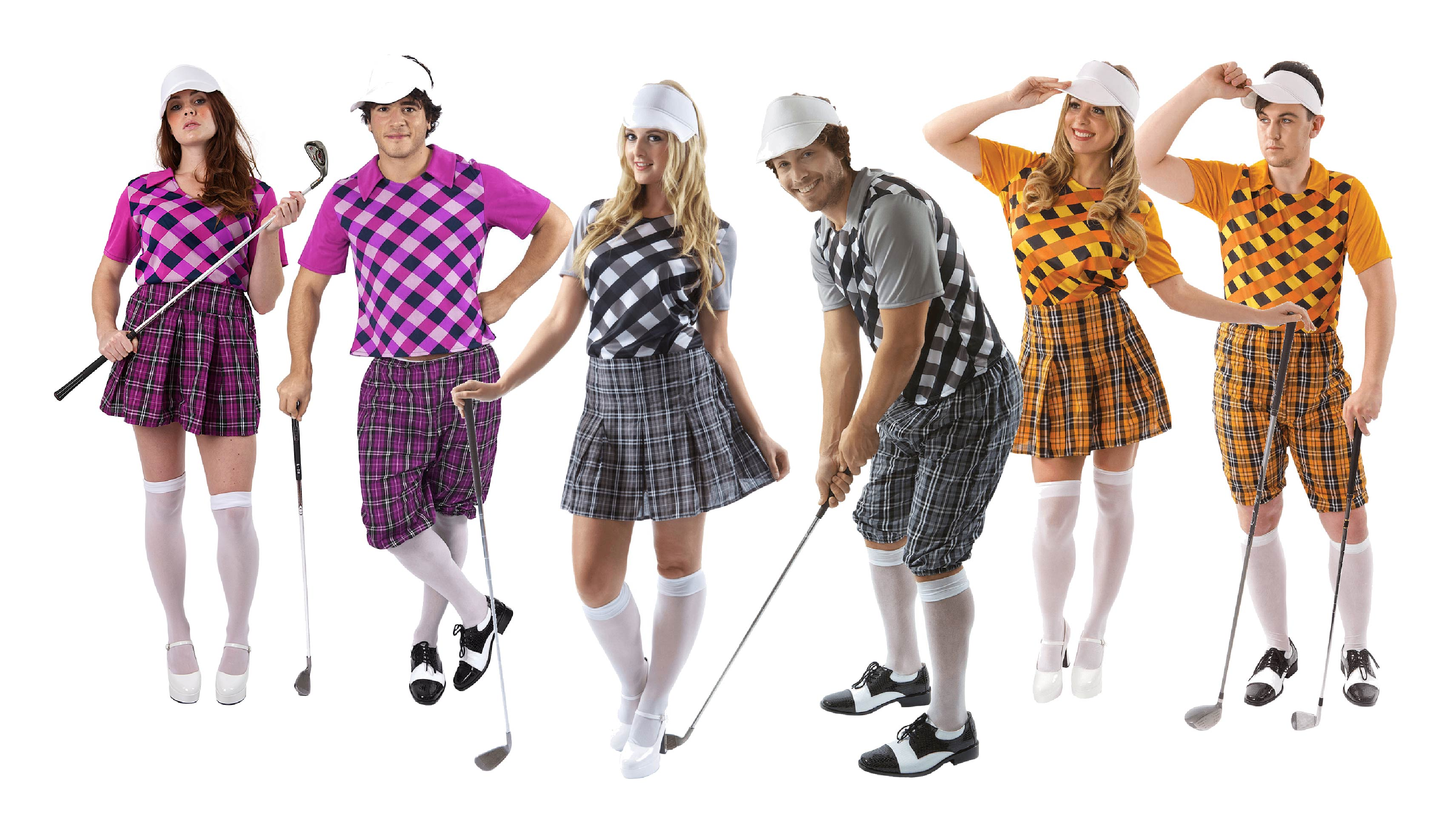 A group of men and women wearing pink, grey and orange golf costumes.