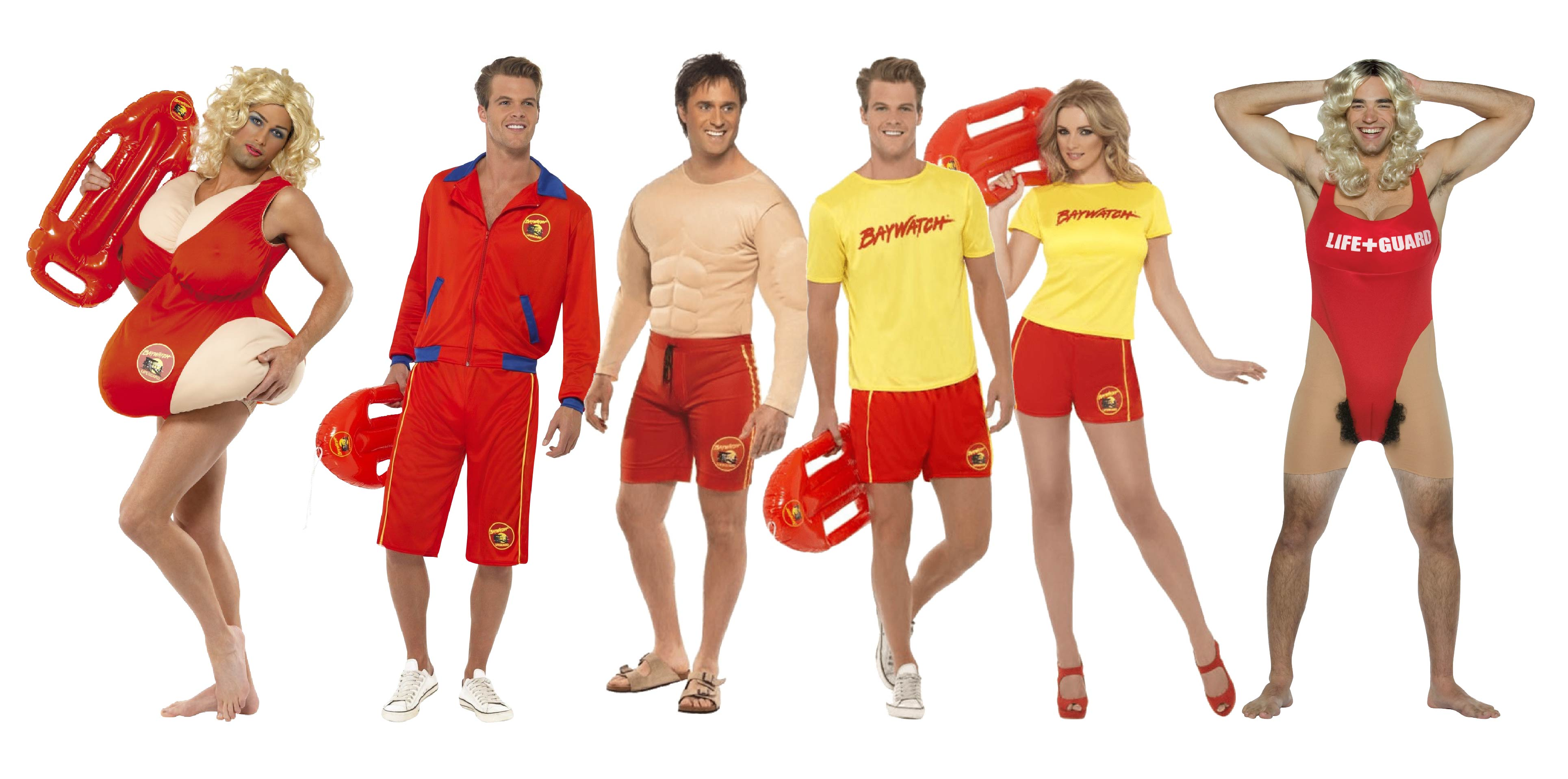 People wearing group Baywatch fancy dress.