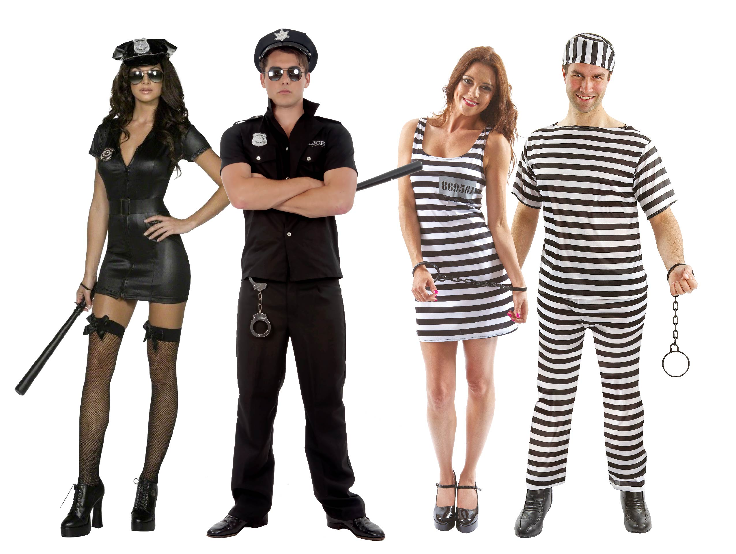 Two men and Two women wearing Cops & Robbers fancy dress.