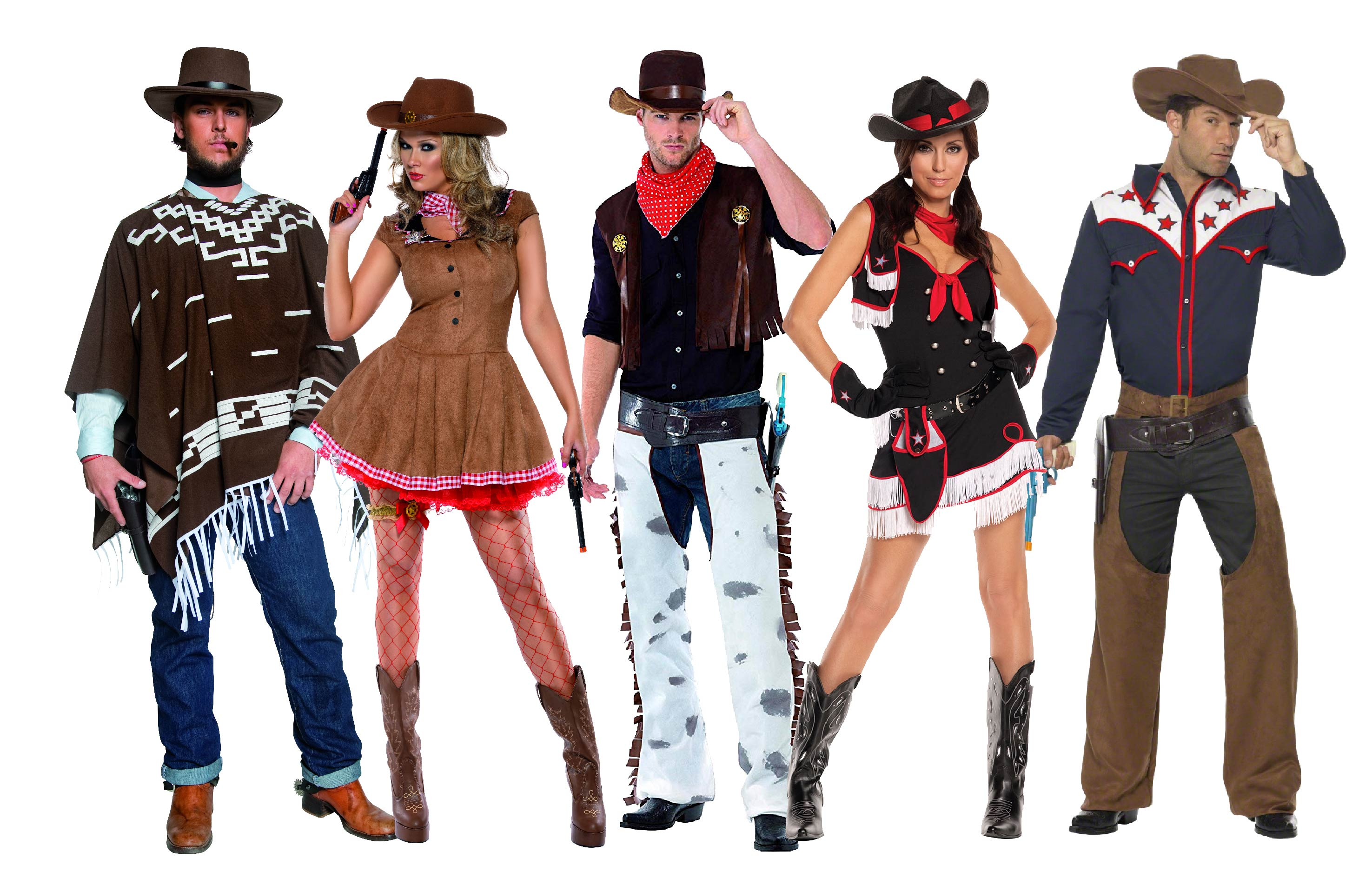 Group fancy dress of Cowboy and Cowgirl costumes.