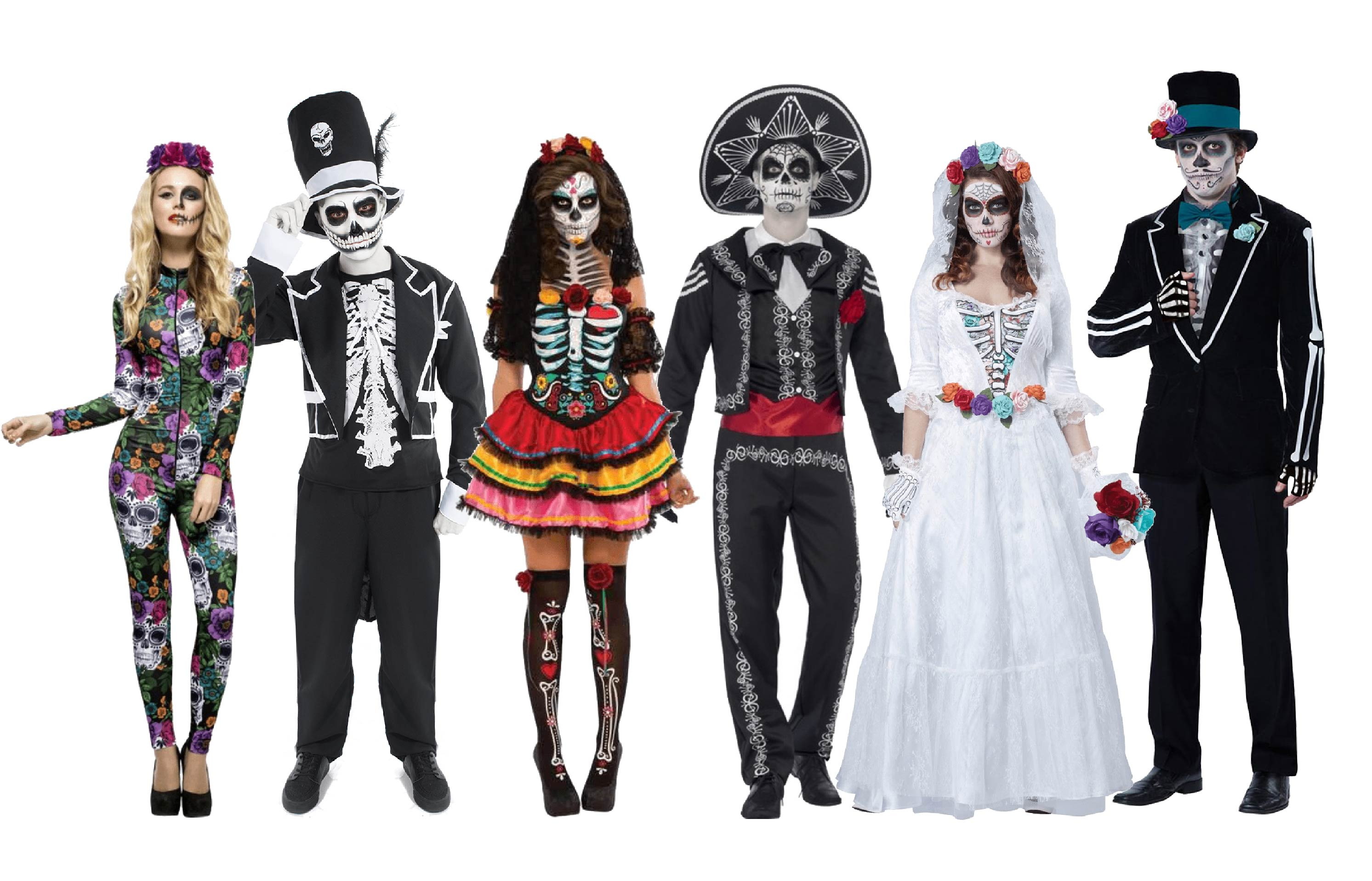 Group of people wearing Day of the Dead group costumes.