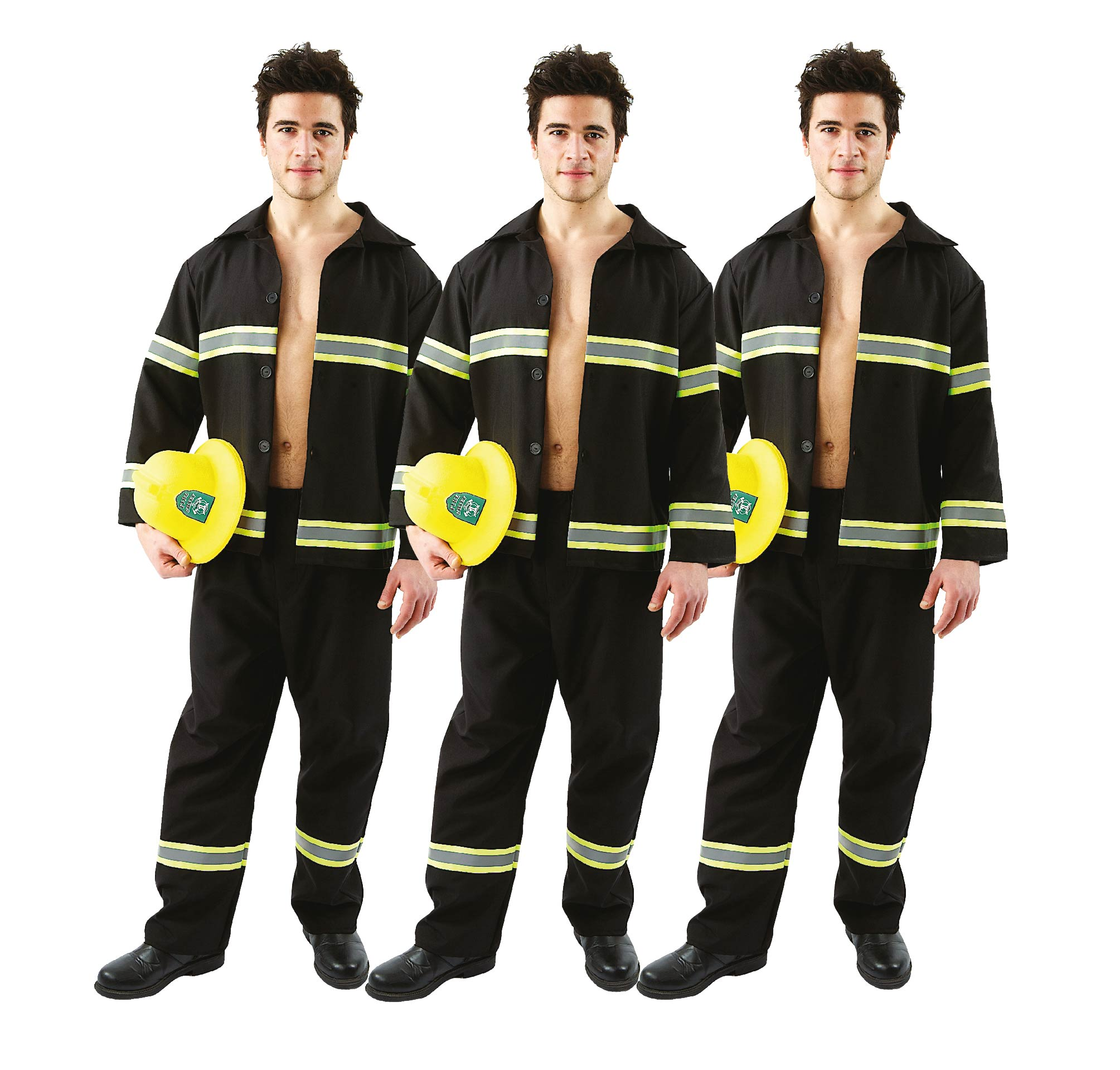 Men wearing matching Fireman costumes for group fancy dress.