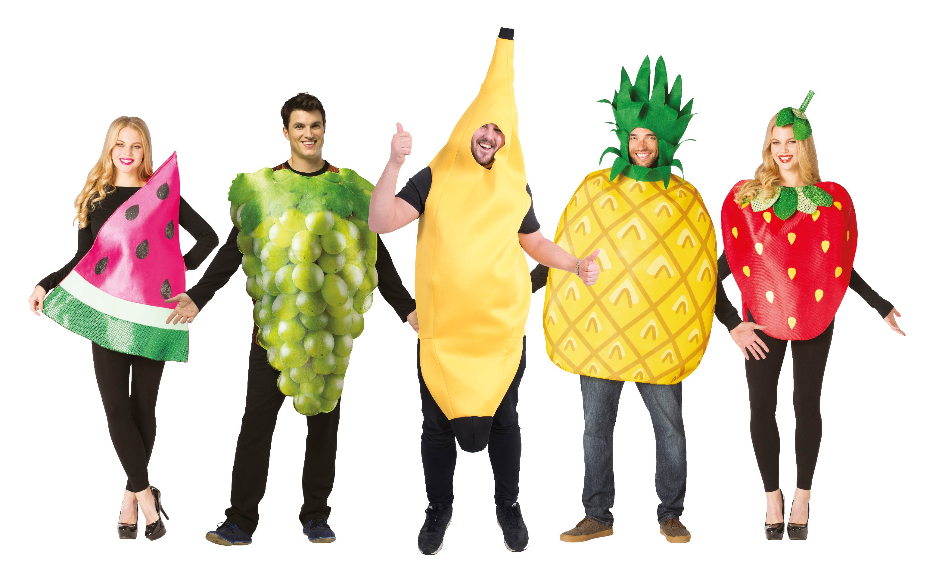 Group of people wearing different fruit costumes including an apple, strawberry, pineapple, grapes, banana and watermelon.