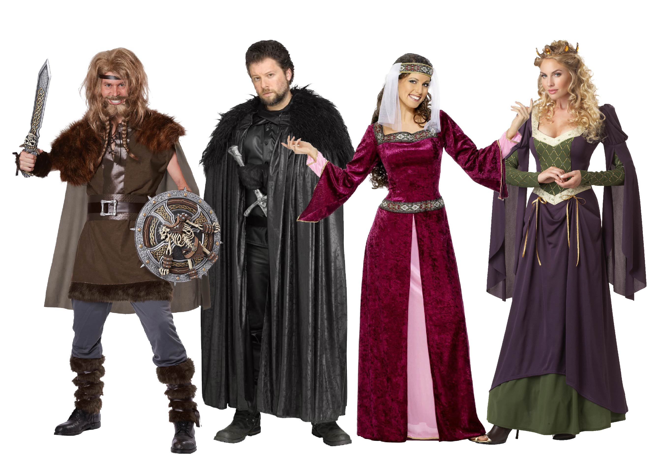 Group of people wearing Game of Thrones costumes.
