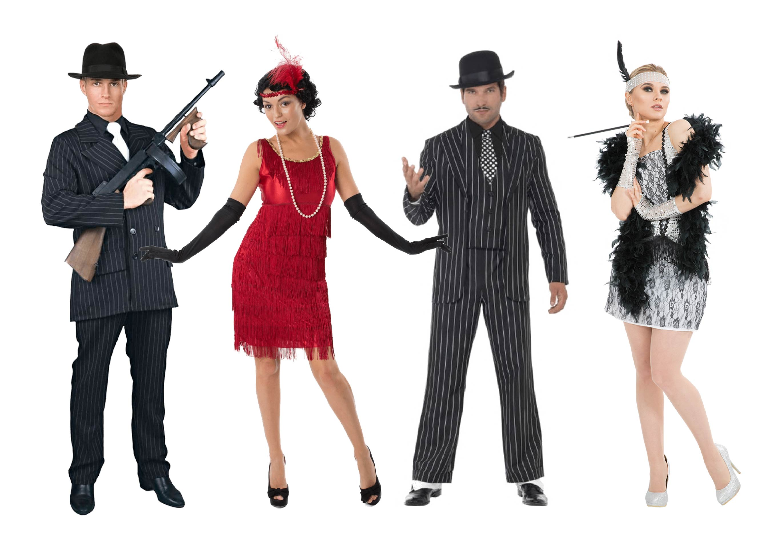 People dressed in 1920s gangsters and flappers.