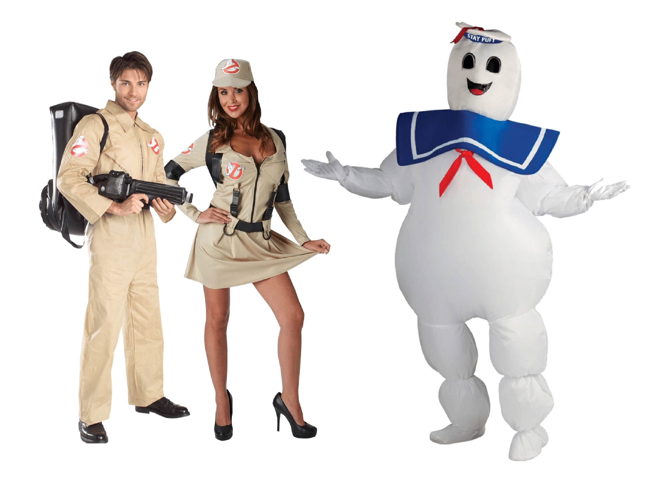A group of people wearing Ghostbusters costumes for men and women including the Stay Puft marshmallow man.