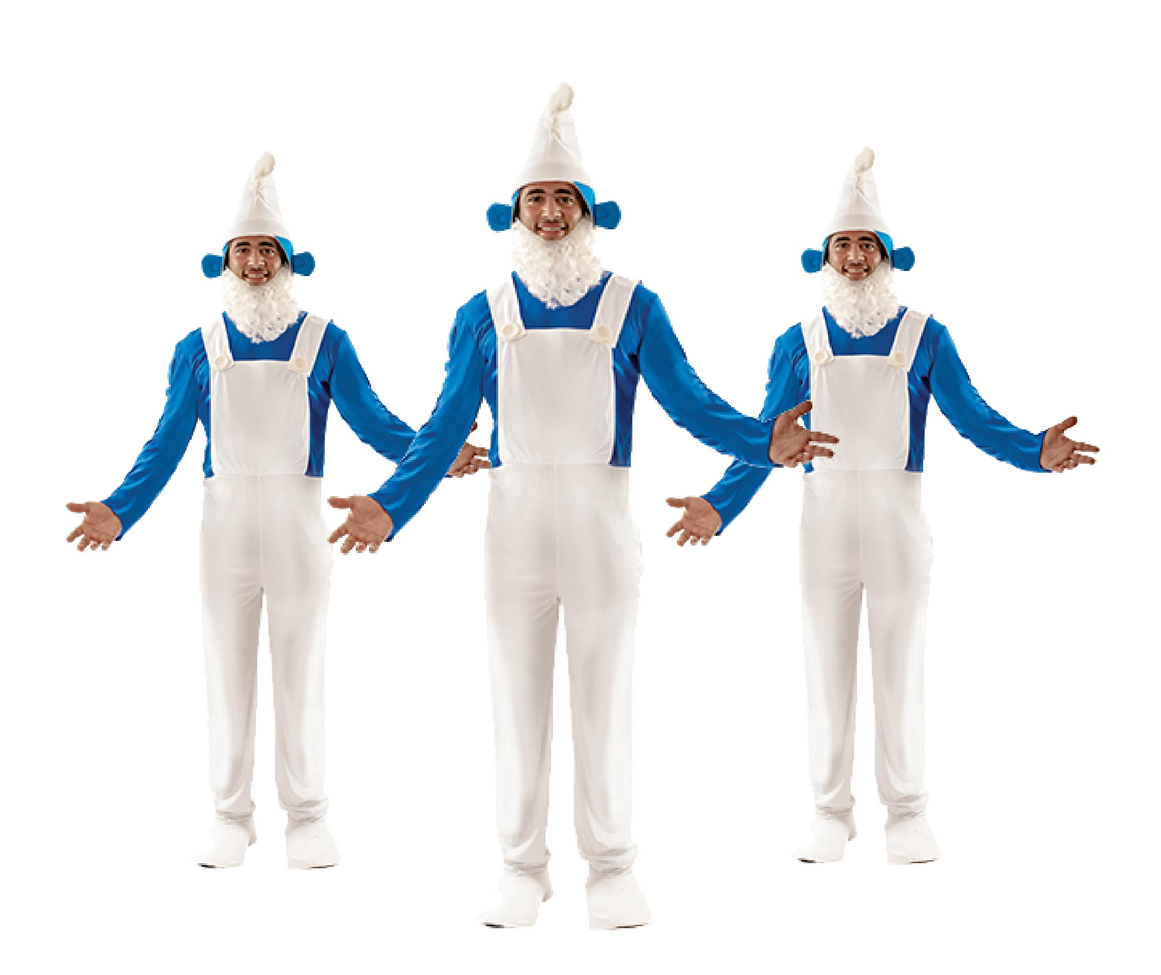 Three men wearing Blue Gnome group costumes.