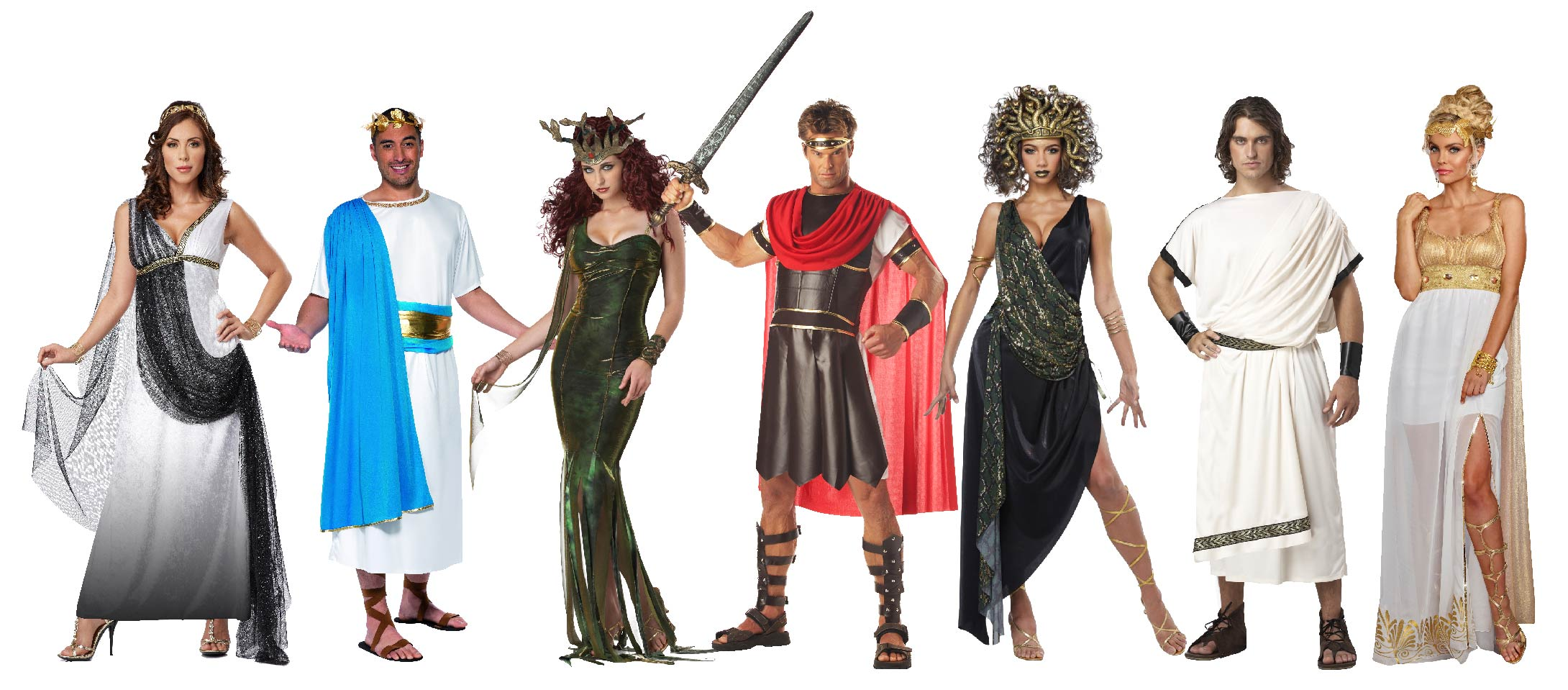 Group of people wearing Greek God & Goddess costumes including Medusa and Athena.