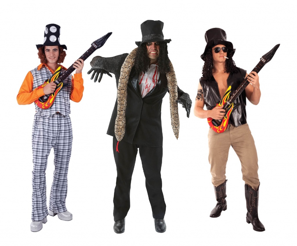Three men wearing guitar hero costumes including Alice Cooper, Slash and Slade.