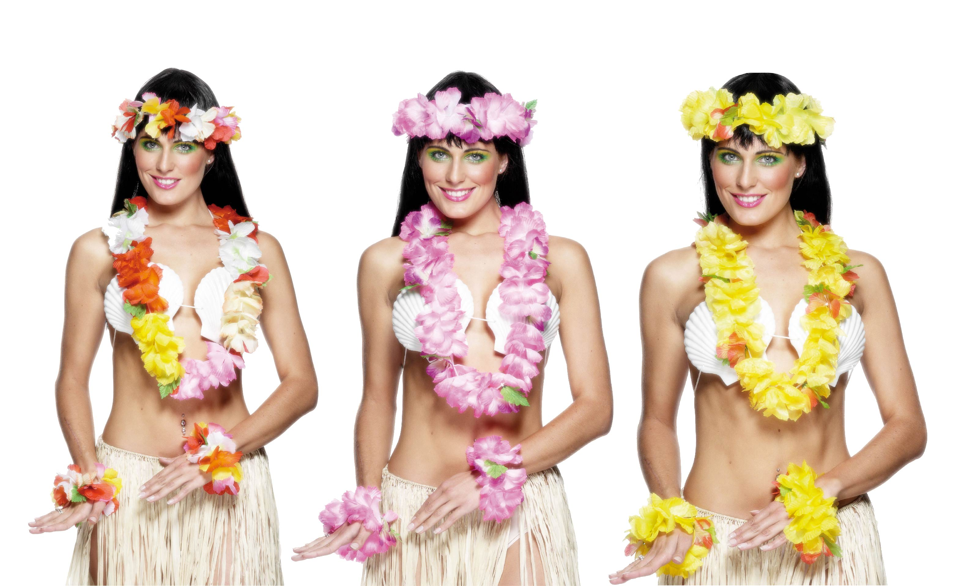 Women wearing Hawaiian skirts and shell bras for group costume.