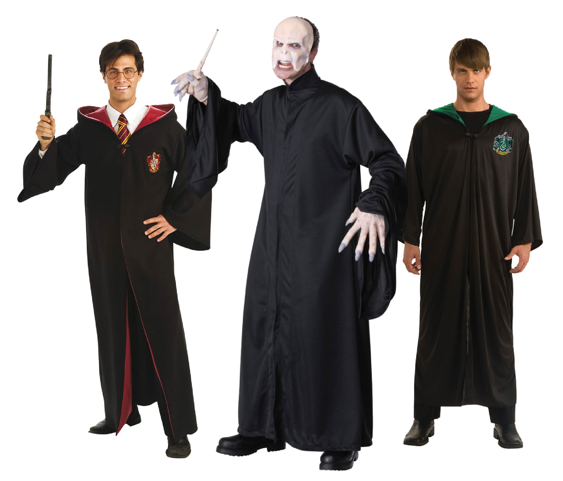 Three men wearing Harry Potter costumes including Voldemort, Gryffindor and Slytherin robes.
