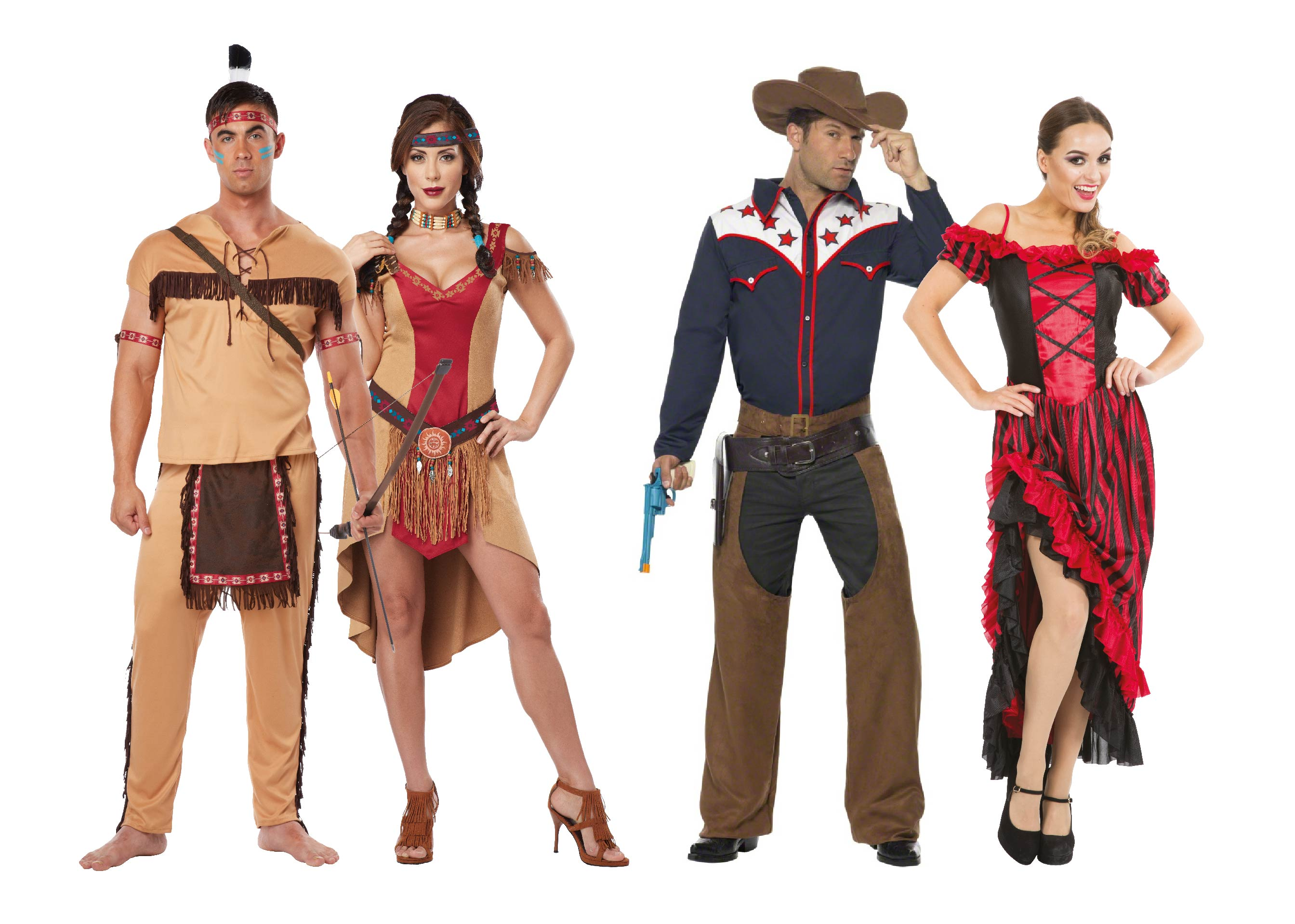 Adults wearing Cowboys and Indians group costumes.