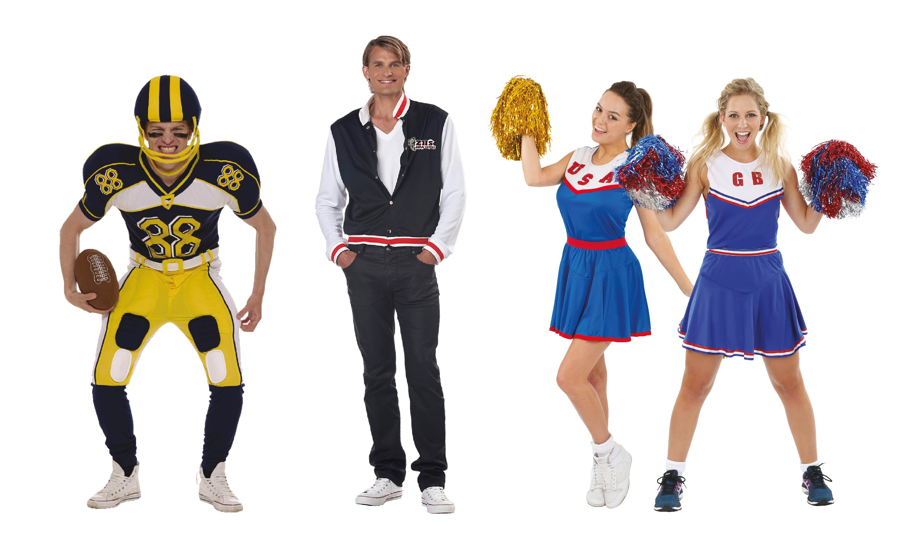Group of people wearing American High School Costumes.