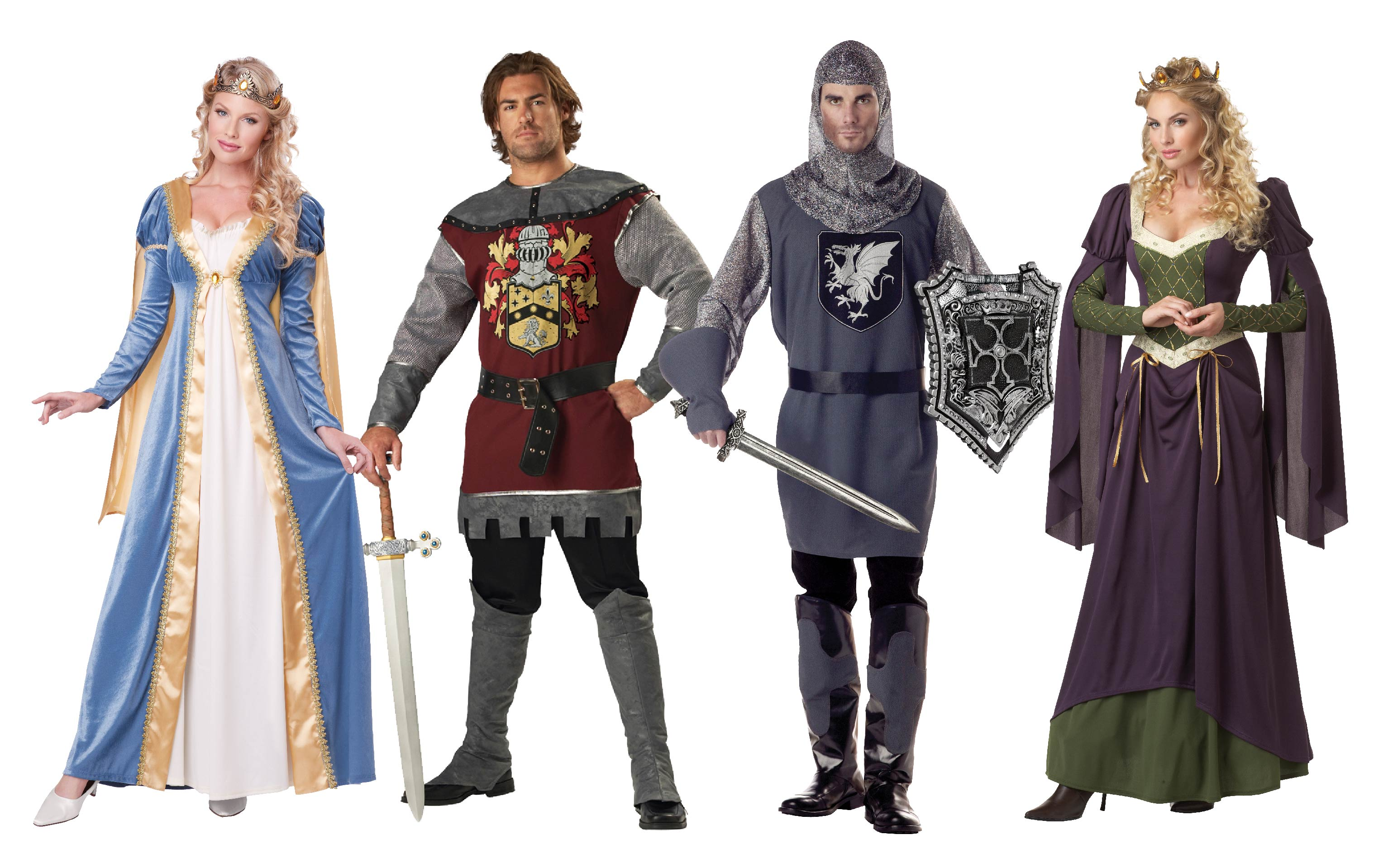 Group costume of Noble Knights and medieval Princesses.