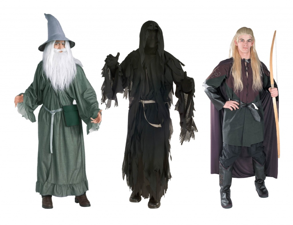 Men wearing Lord of the Rings costumes including Gandalf and Legolas.