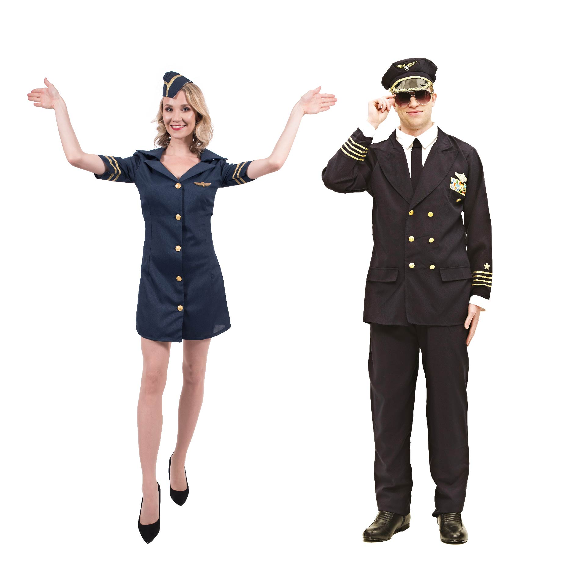 Man and woman wearing pilot and air hostess costumes.